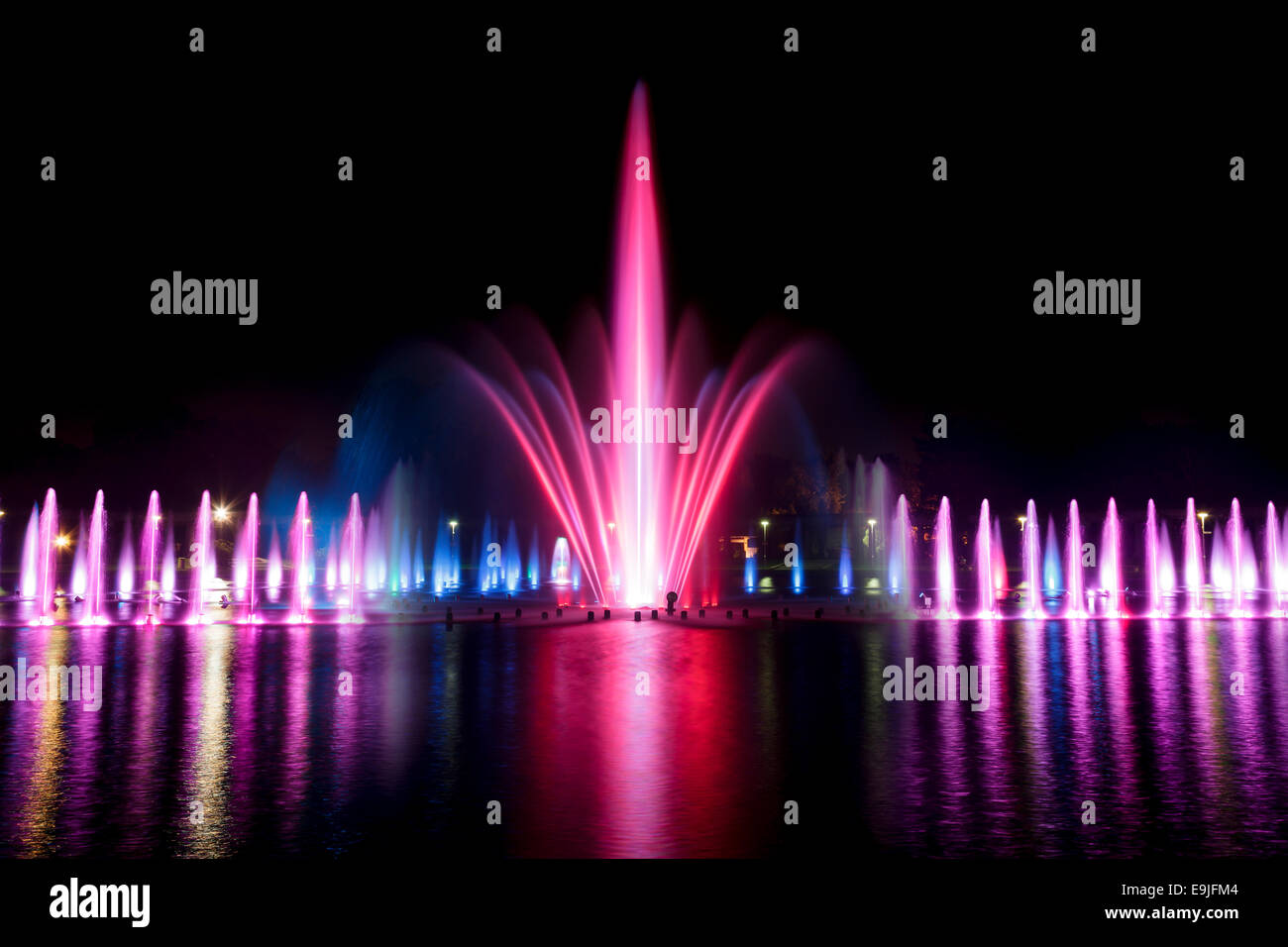 Multimedia Fountain at the Pergola, Centennial Hall, Wroclaw, Poland - Stock Image