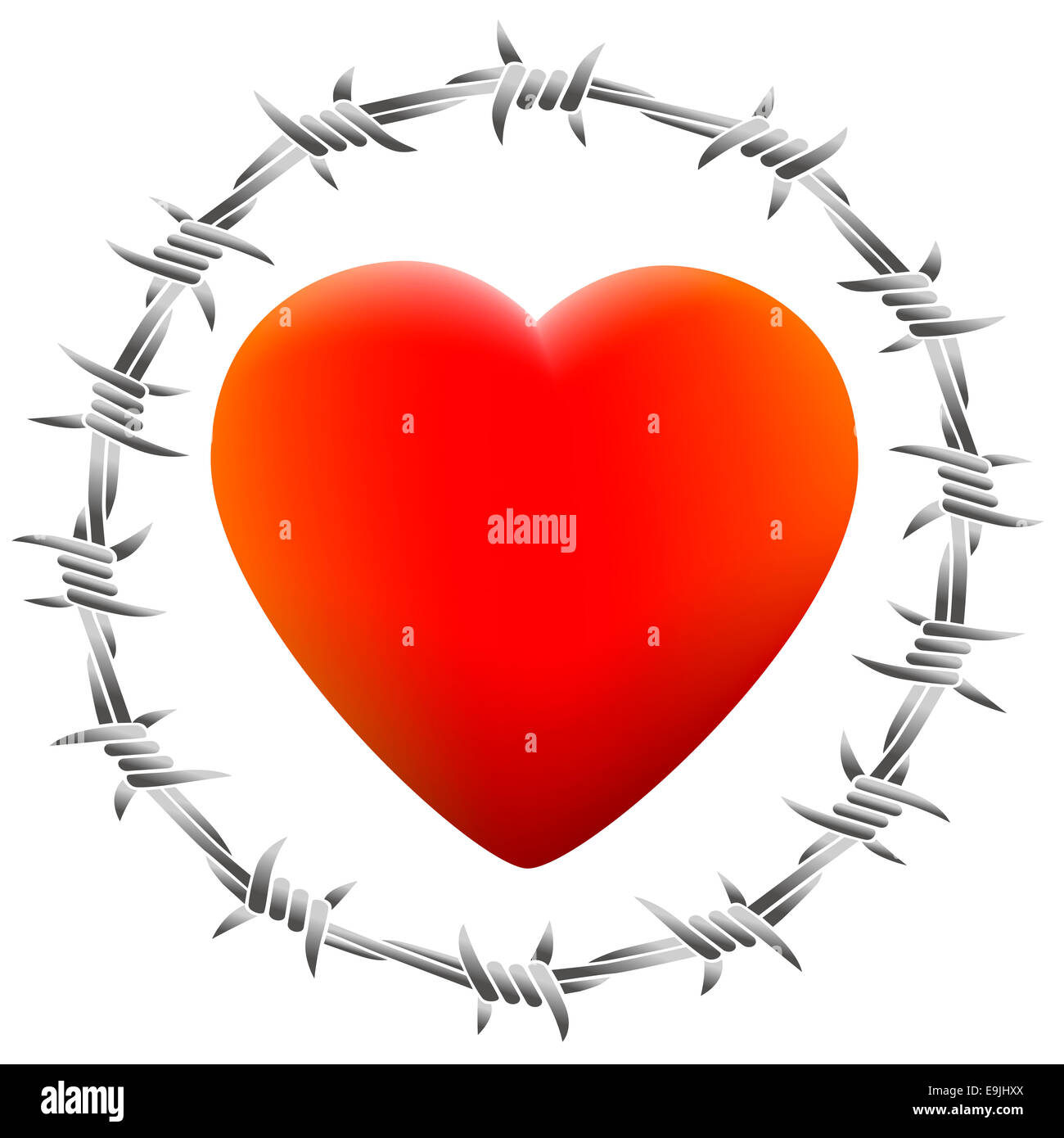 Red glowing heart surrounded by barbed wire. Stock Photo