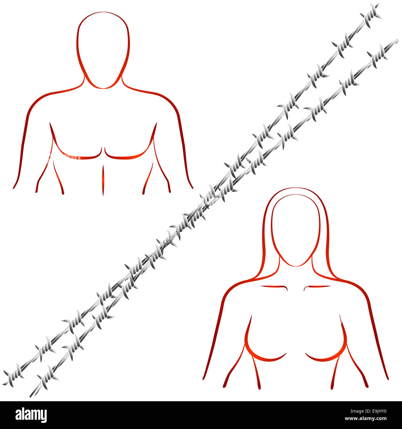 Outline illustration of a man and a woman who are divided by a barbed wire. - Stock Image
