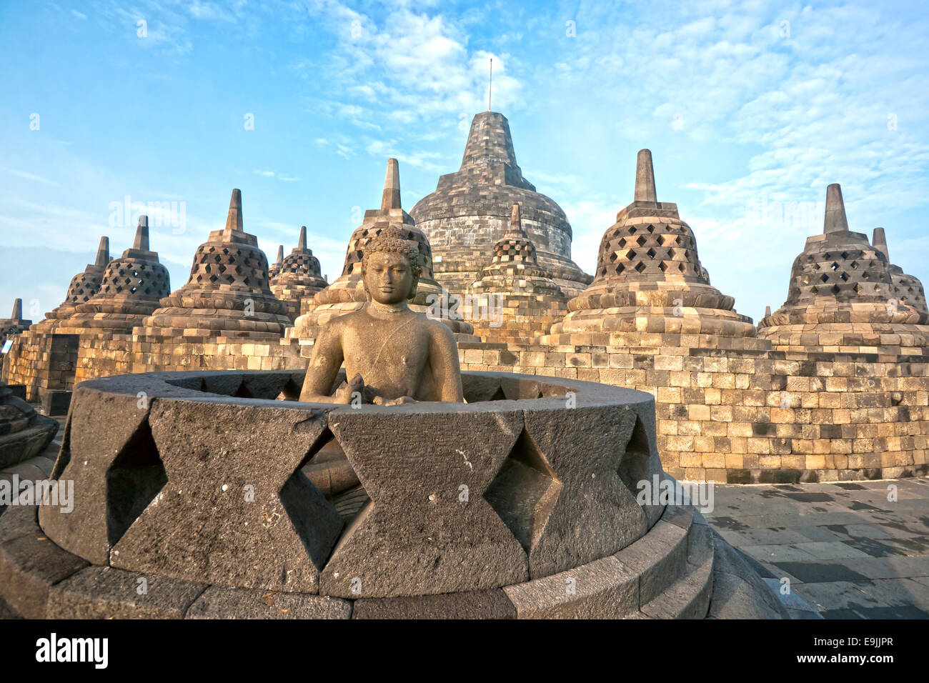 Borobudur Temple at sunset. Yogyakarta, Java, Indonesia. - Stock Image
