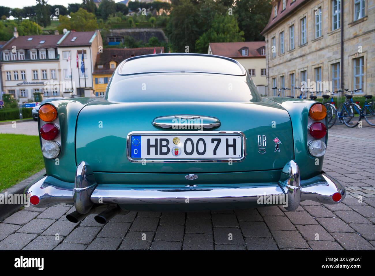 Aston Martin DB5, rear, Bamberg, Upper Franconia, Bavaria, Germany - Stock Image