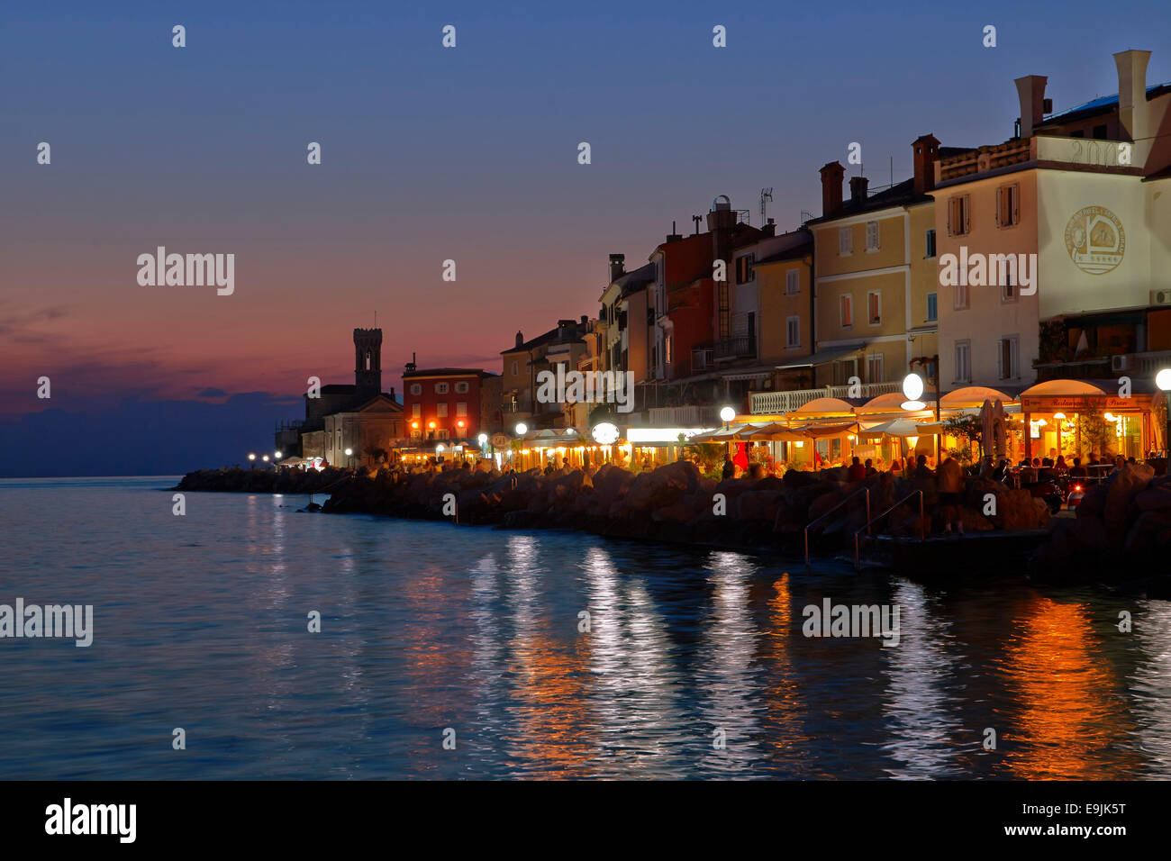 Harbour at dusk, Piran, Coastal–Karst Statistical Region, Slovenia - Stock Image