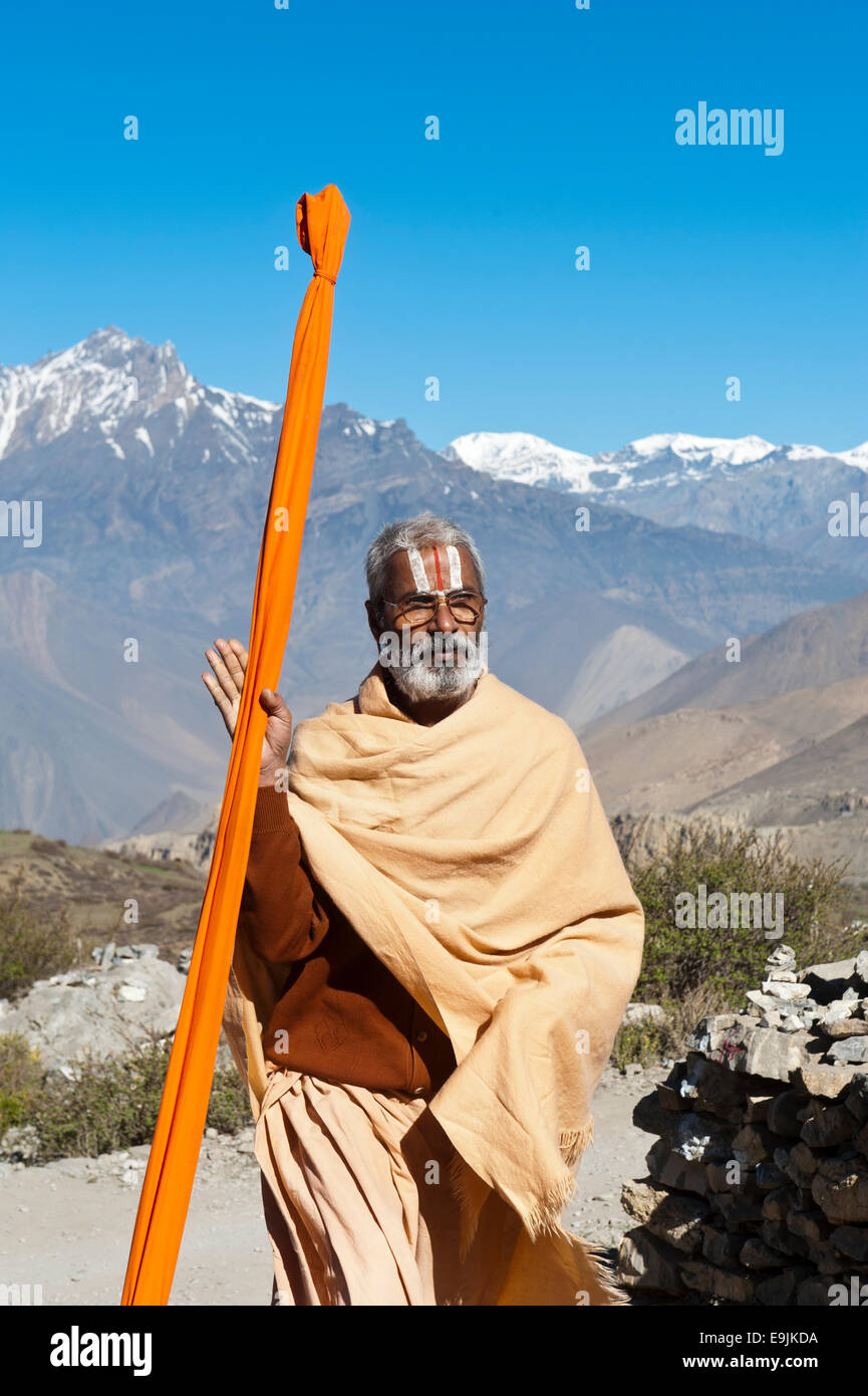 Sadhu, holy man, pilgrim of Lord Vishnu, Muktinath, Lower Mustang, Nepal - Stock Image