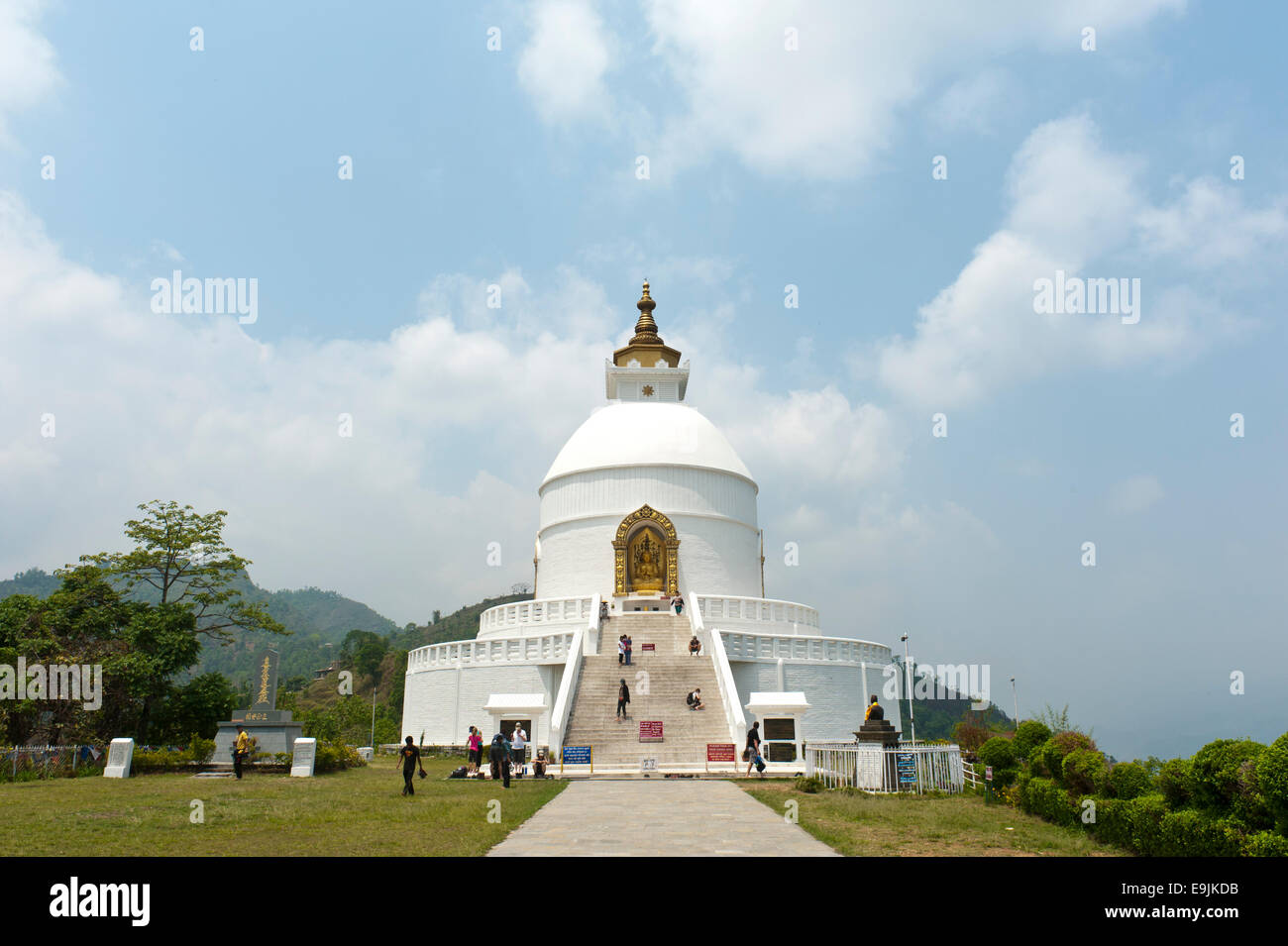 World Peace Stupa, new white stupa, Pokhara, Nepal - Stock Image