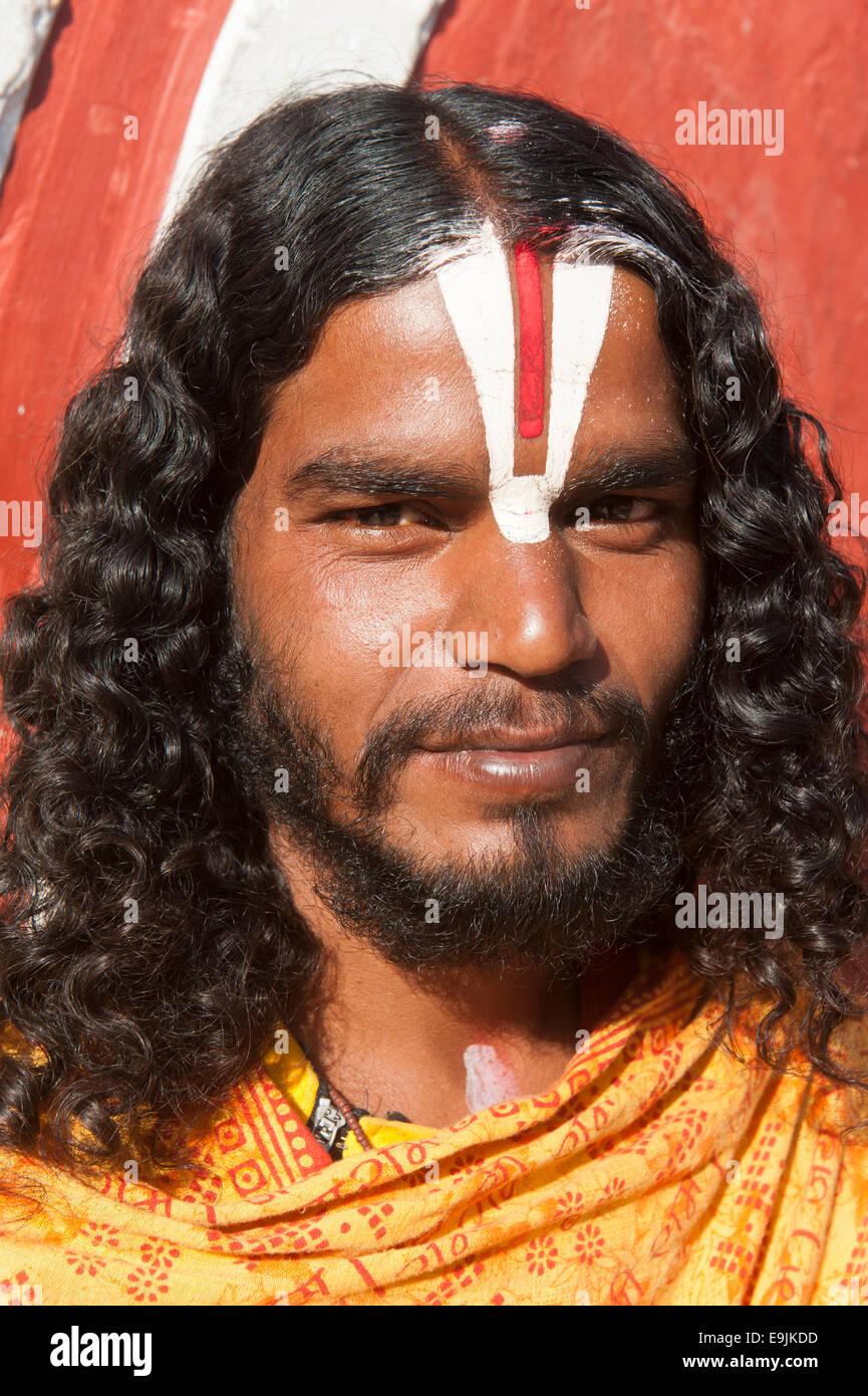 Young Sadhu, holy man, pilgrim of Lord Vishnu, portrait, Budhanilkantha, Kathmandu District, Bagmati Zone, Nepal - Stock Image
