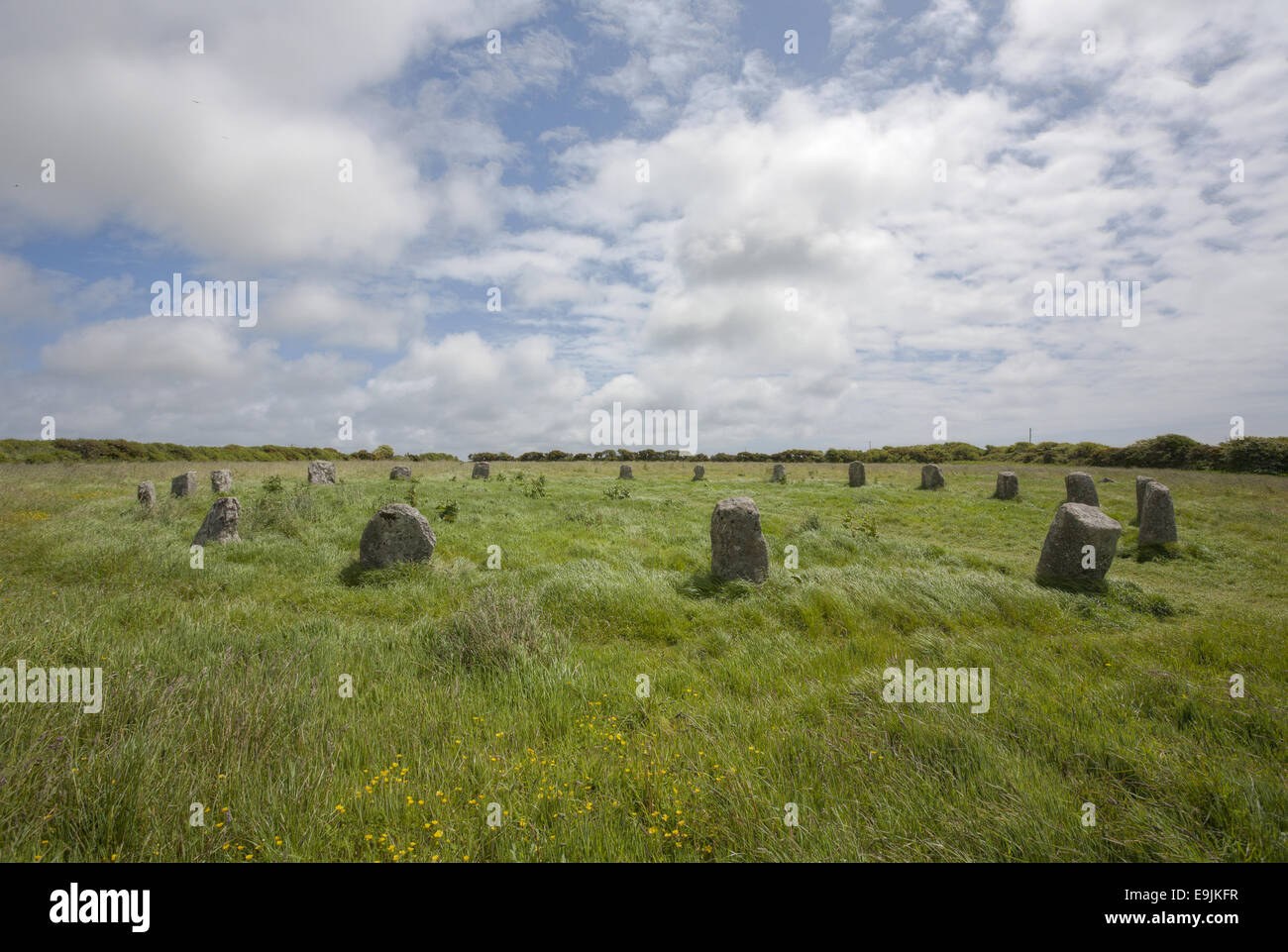The Merry Maidens, a 3,000 to 4,000 year neo-lithic old stone circle, Lamorna, Cornwall, England, United Kingdom - Stock Image
