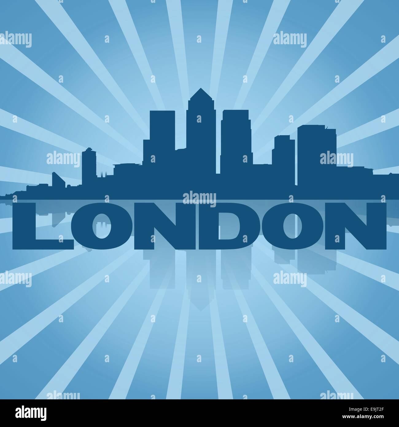 London Docklands skyline on blue sunburst illustration - Stock Vector