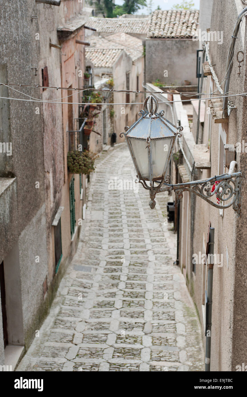 view of ancient road in Erice, Sicily - Stock Image