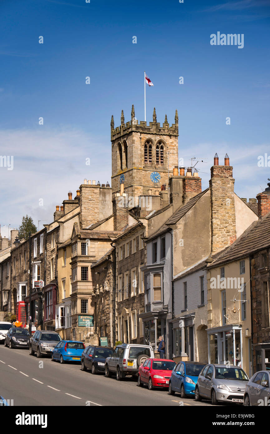 UK, County Durham, Barnard Castle, The Bank, St Mary's Church Tower rising above town skyline - Stock Image