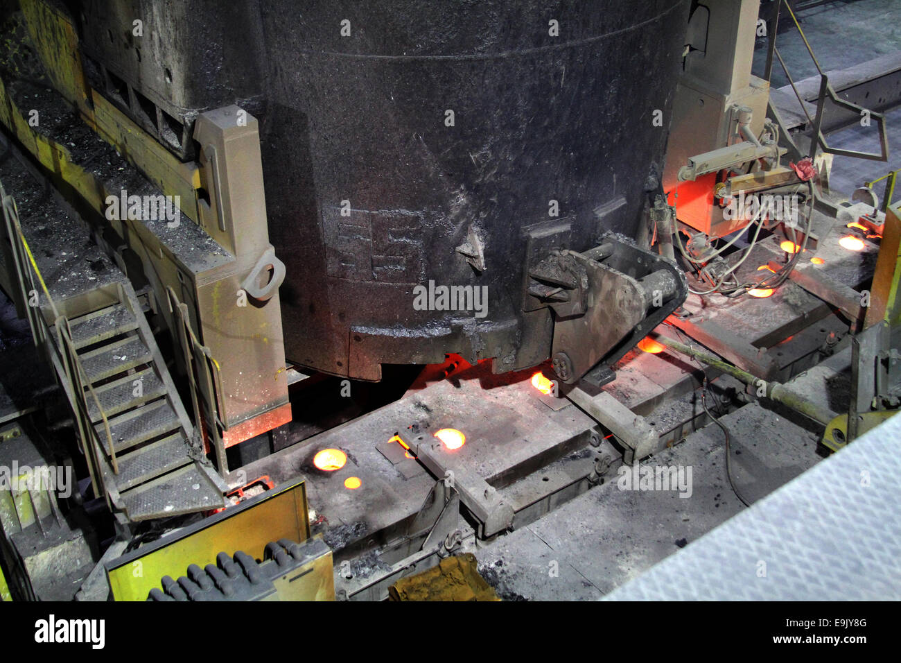 ladle and tundish of continuous casting machine. - Stock Image