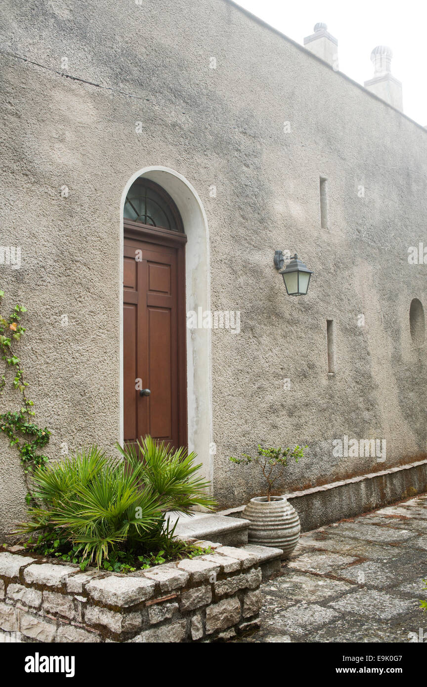 entrance of old house in Erice, Sicily - Stock Image