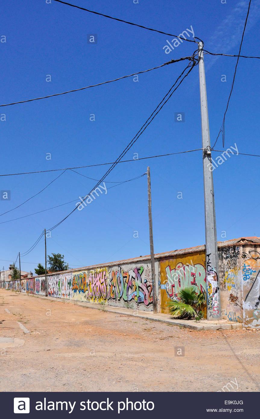 Abandoned factory in Benicarló suburbia, Castellón de la Plana, Valencian Community, Spain - Stock Image