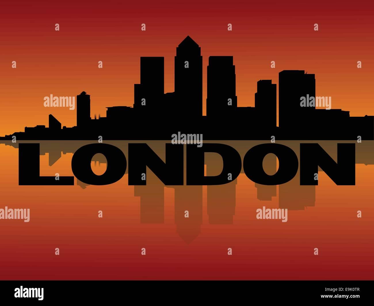 London Docklands skyline reflected at sunset vector illustration - Stock Vector