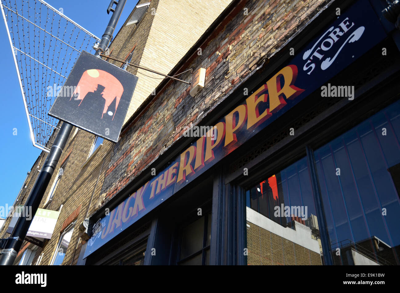 The sign of the Jack the Ripper shop in Bell Lane, Spitalfields, in the east end of London - Stock Image