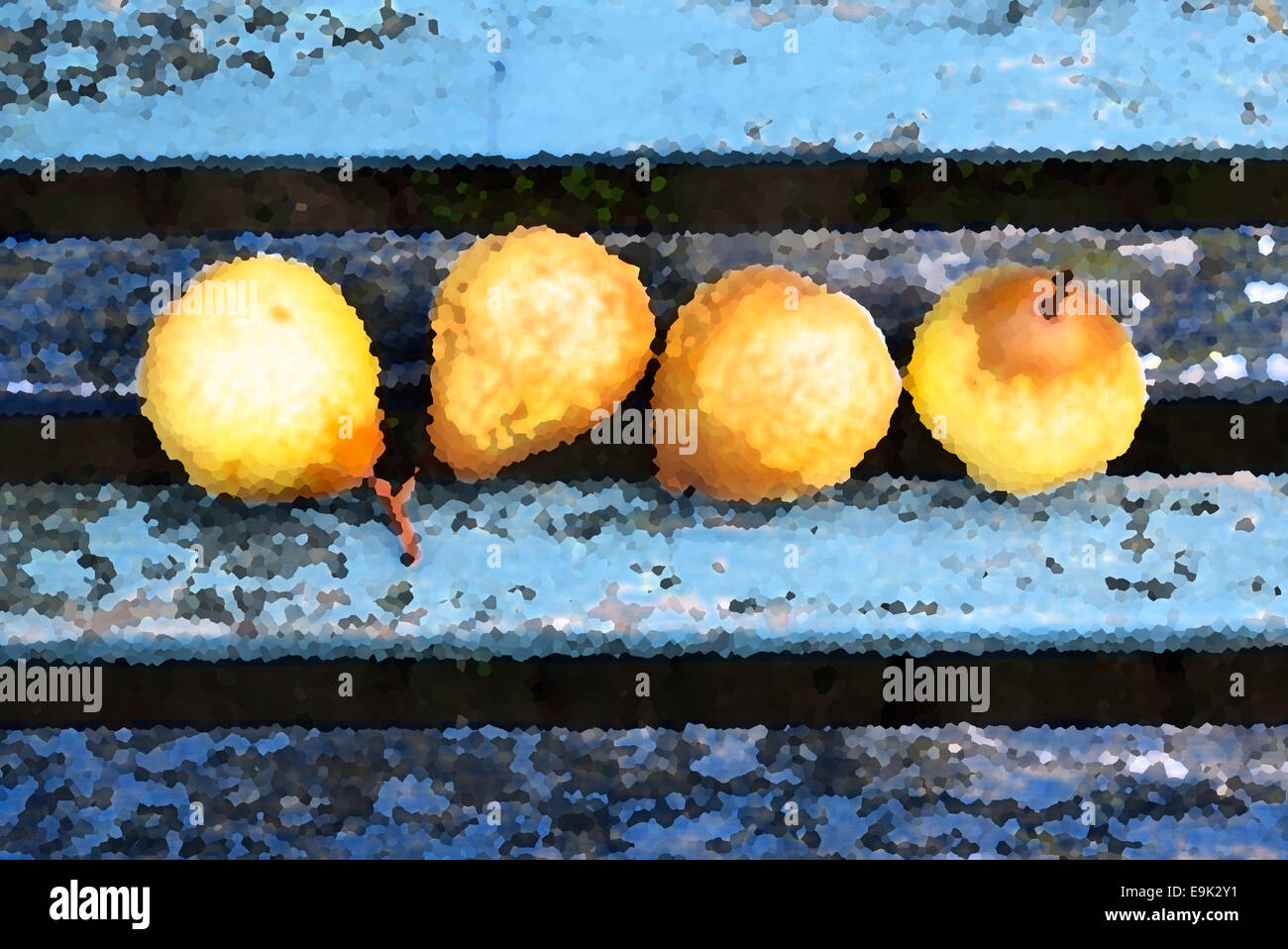 Four ripe pears illustration Stock Photo