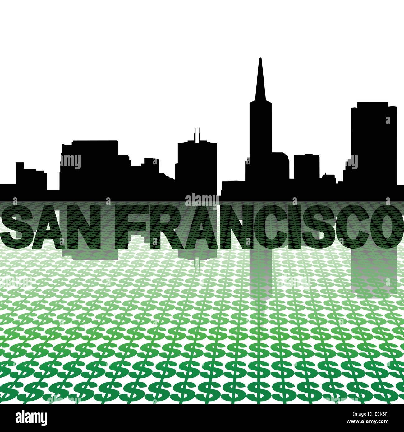 San Francisco Skyline Reflected With Dollar Symbols Illustration