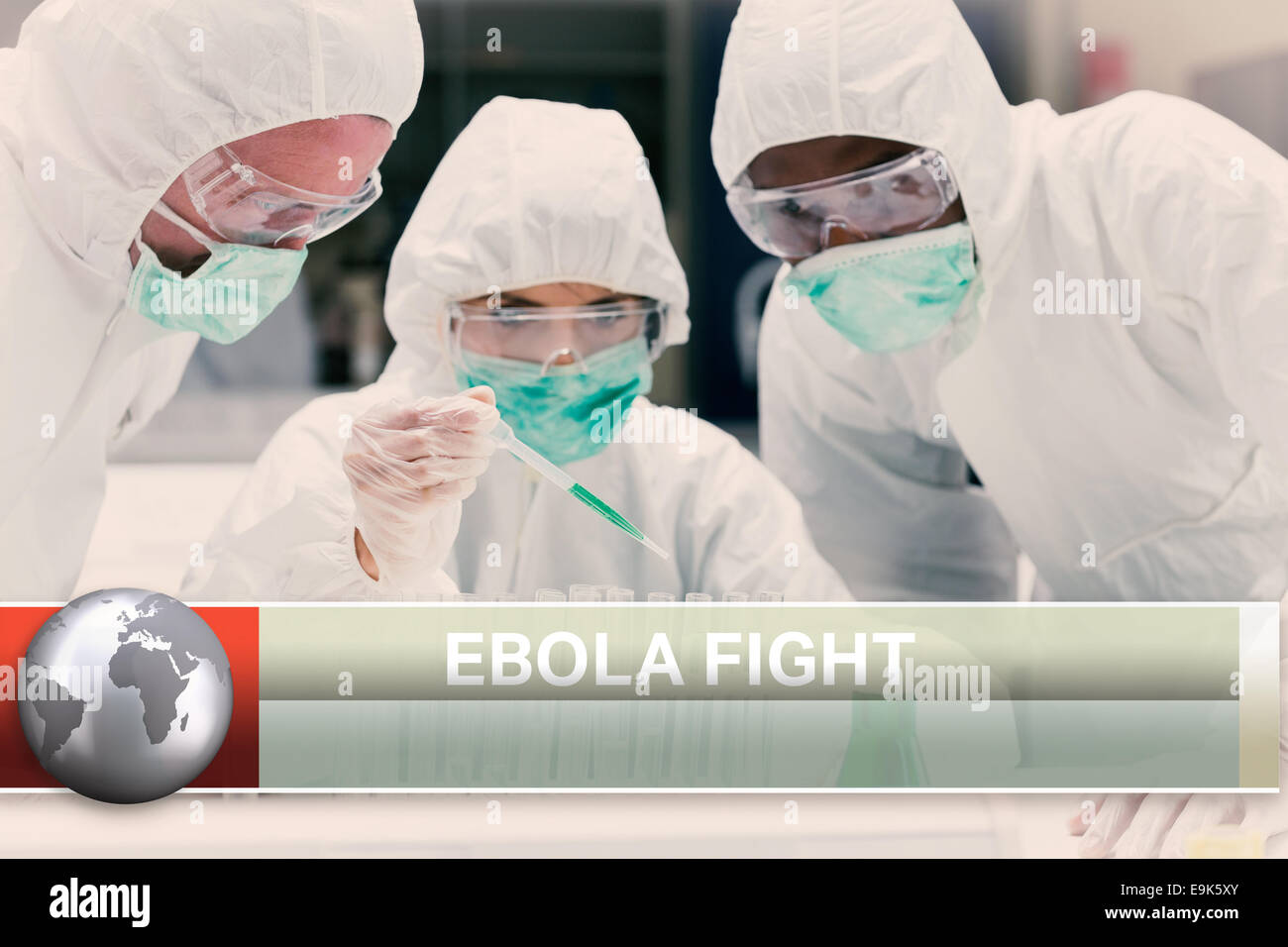 Ebola news flash with medical imagery - Stock Image