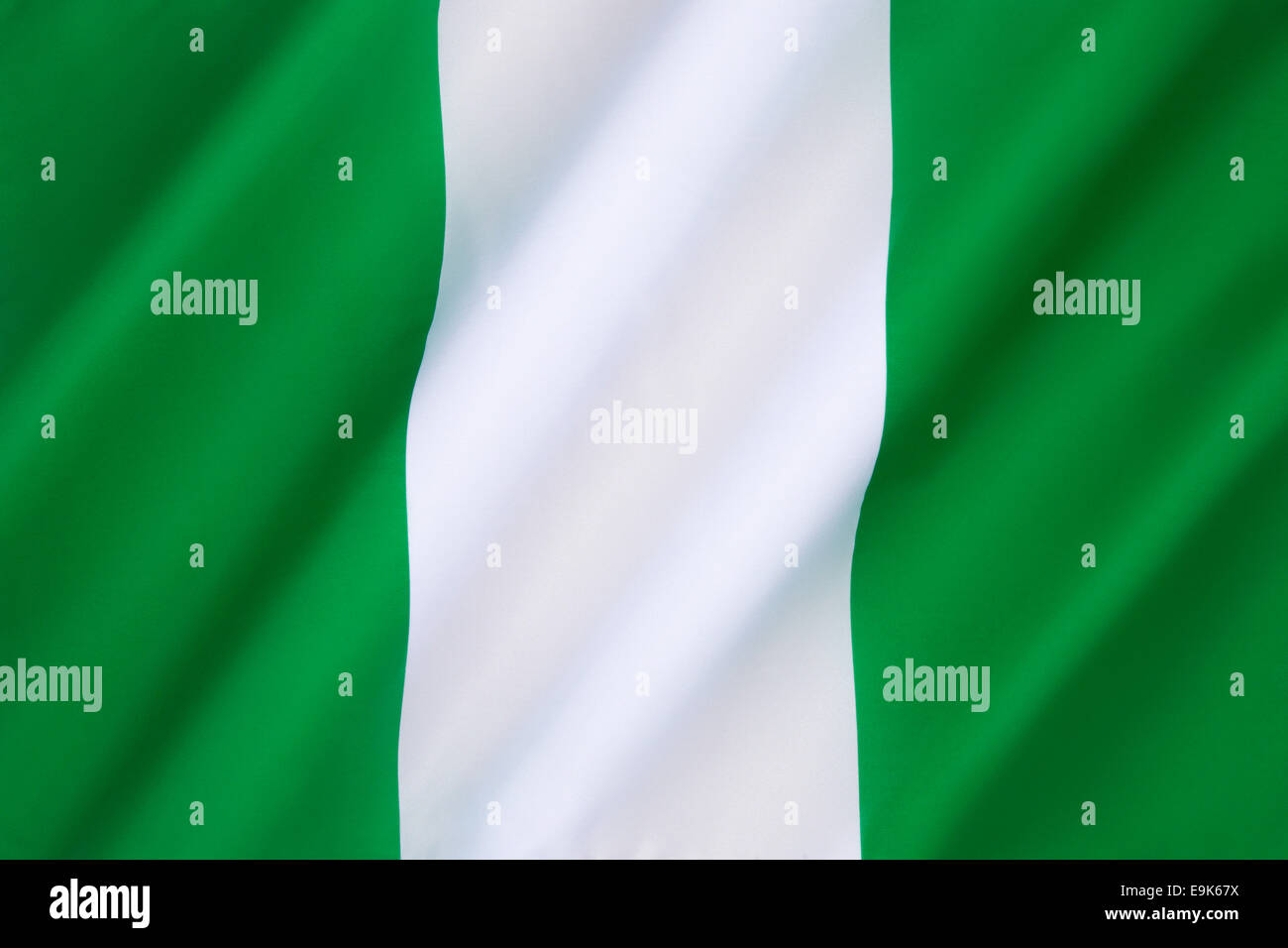 The Flag of Nigeria - designed in 1959 and officially adopted on October 1st 1960. - Stock Image