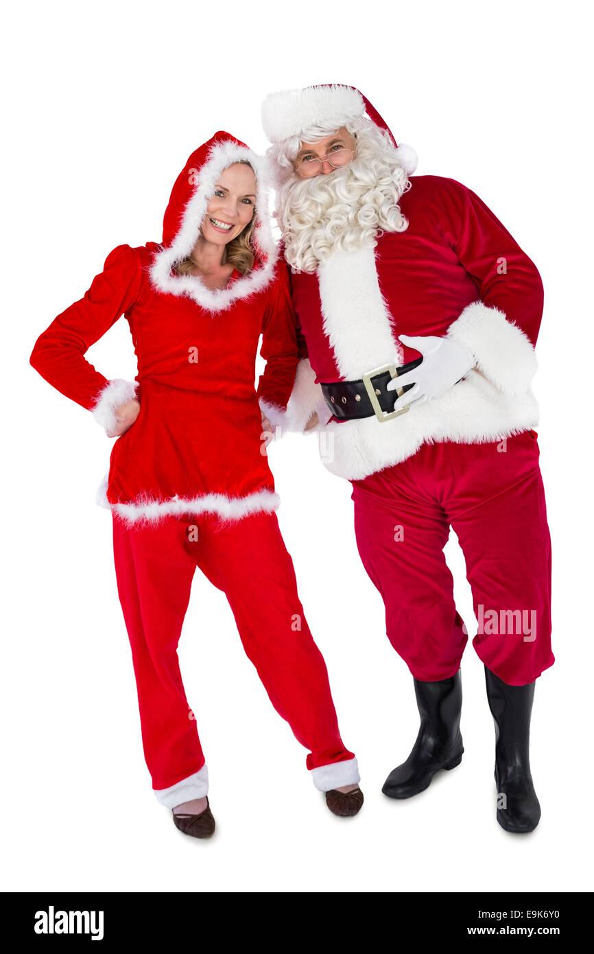 Santa And Mrs Claus Smiling At Camera