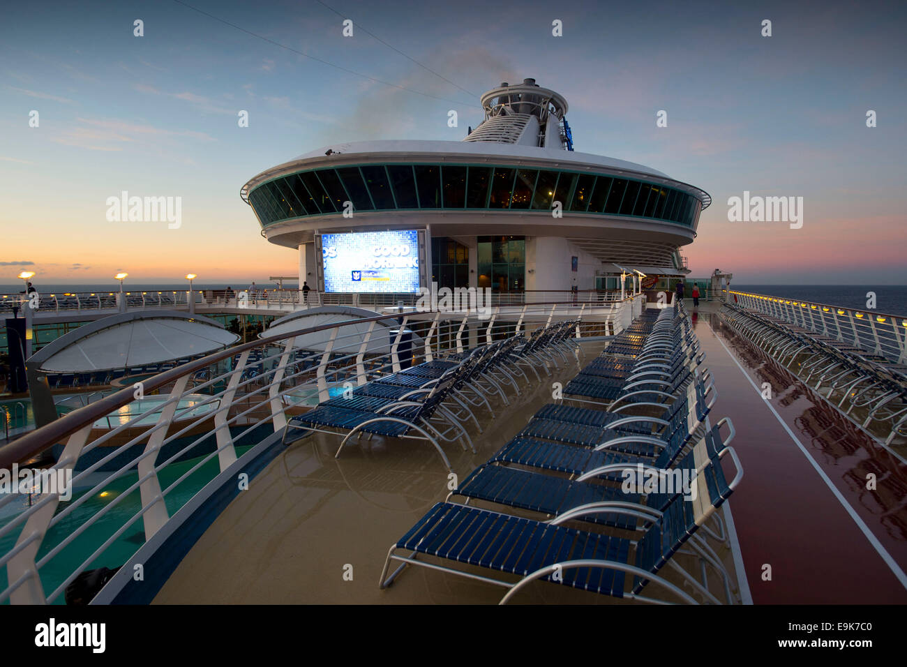The deck of the Adventurer of the Seas cruise ship operated by Royal Caribbean International. - Stock Image