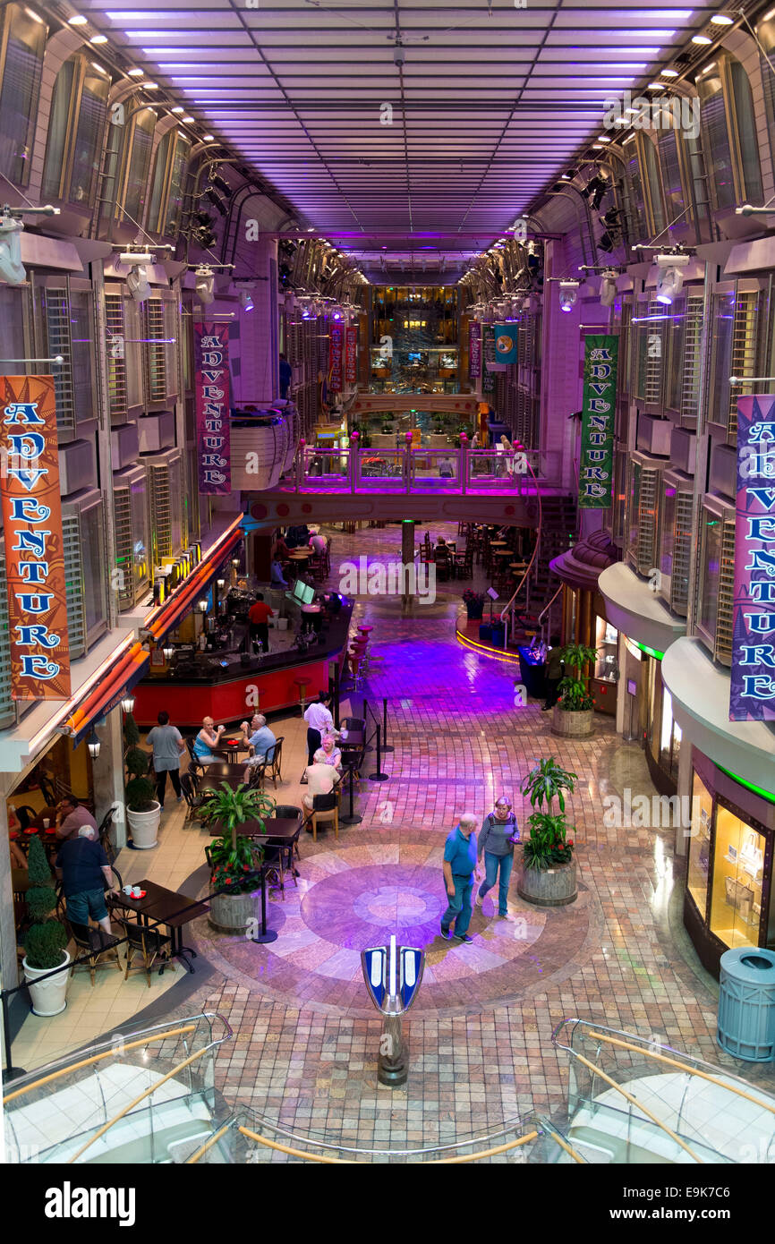 Inside Of The Adventurer Seas Cruise Ship Operated By Royal Caribbean International
