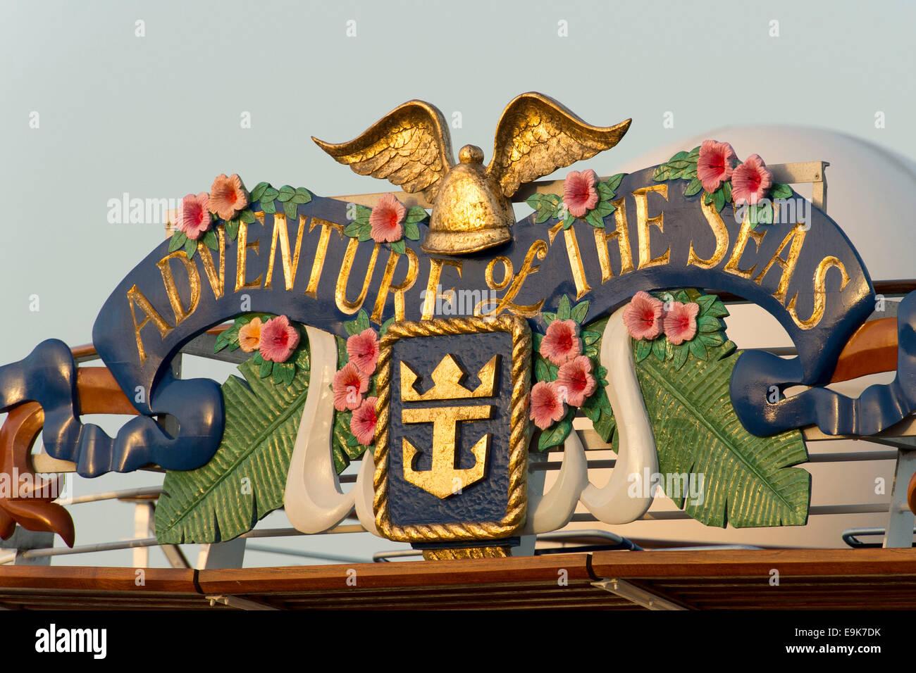 Royal Caribbean's Adventurer of the Seas ship sign logo. - Stock Image