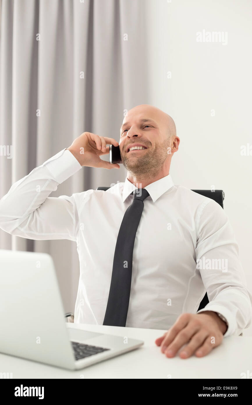 Mid adult businessman on call in home office - Stock Image
