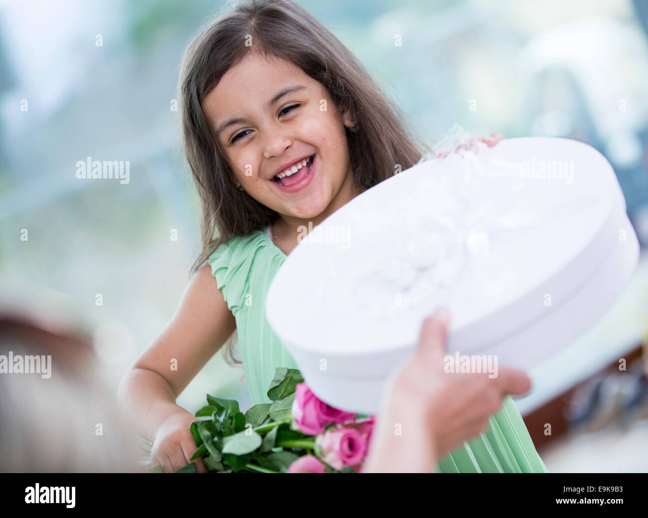 Portrait of cute girl holding gift box and flower basket at home - Stock Image