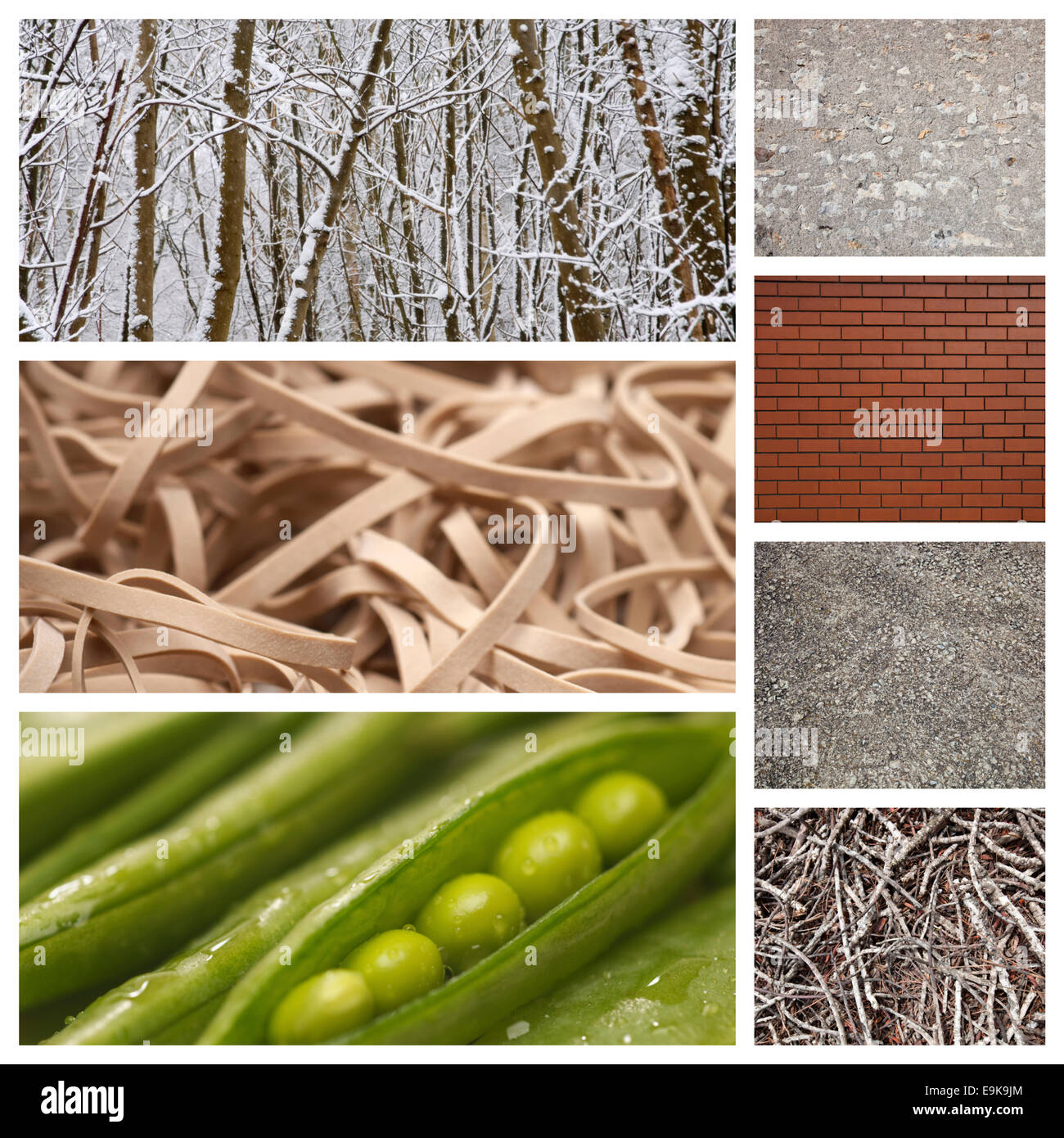 Computer imaging of nature with brick wall and rubber bands - Stock Image