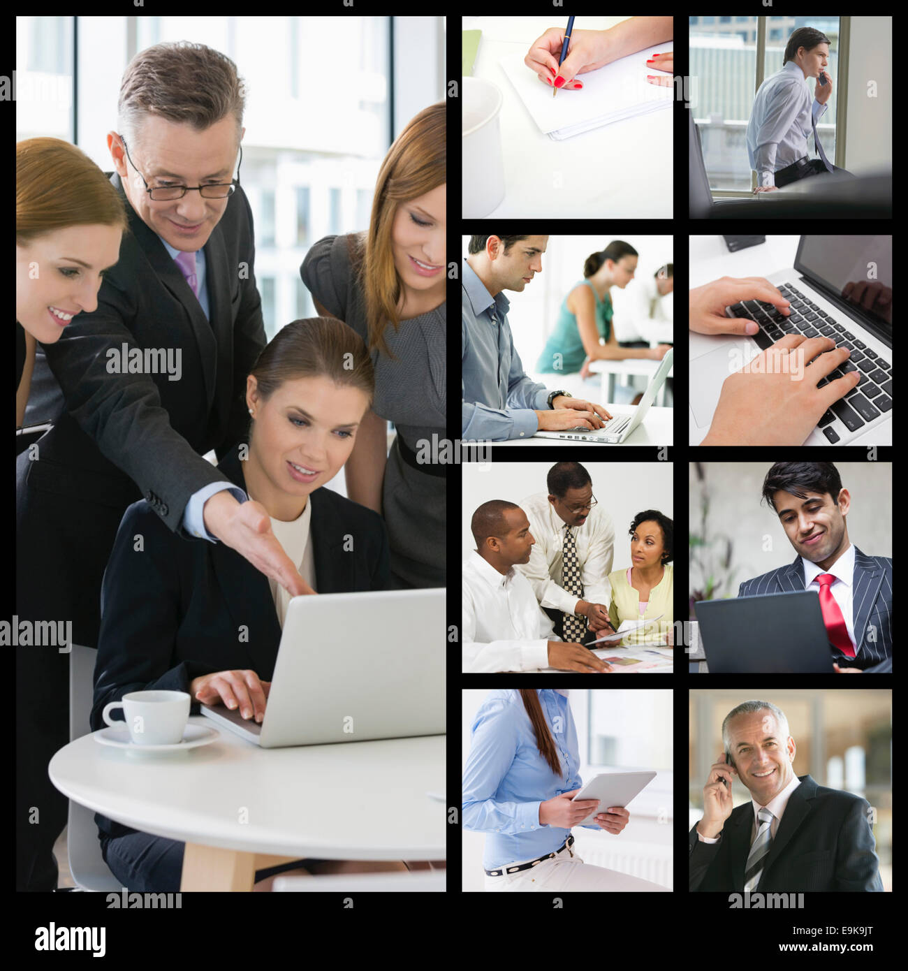 Computer imaging of business people working in office - Stock Image