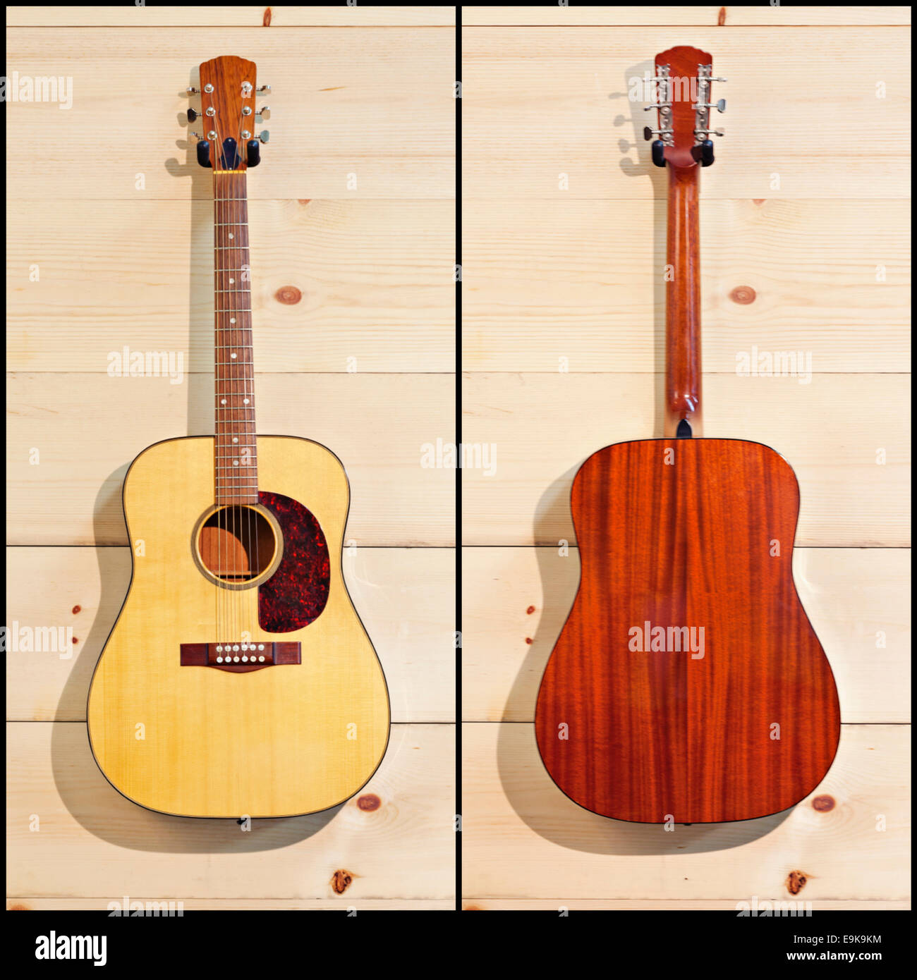 Collage showing two sides of guitar - Stock Image