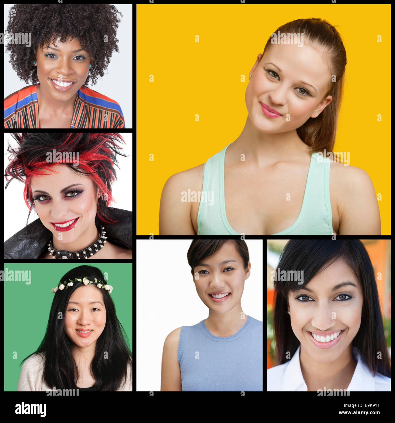 Collage of attractive women of different ethnicities - Stock Image