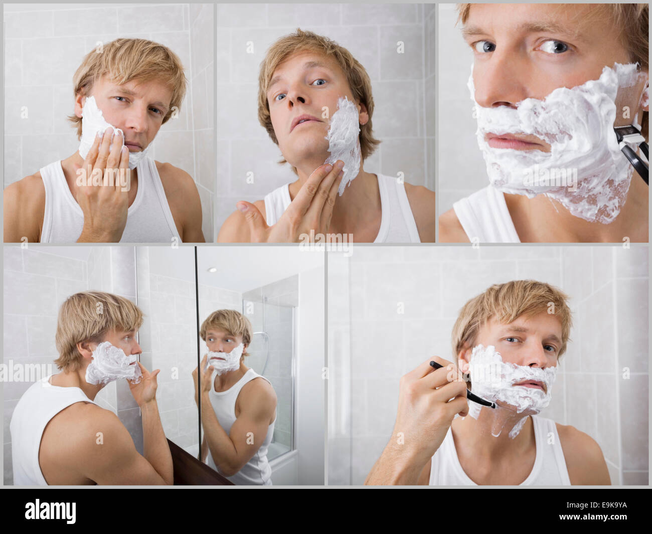 Collage of young man shaving in bathroom - Stock Image