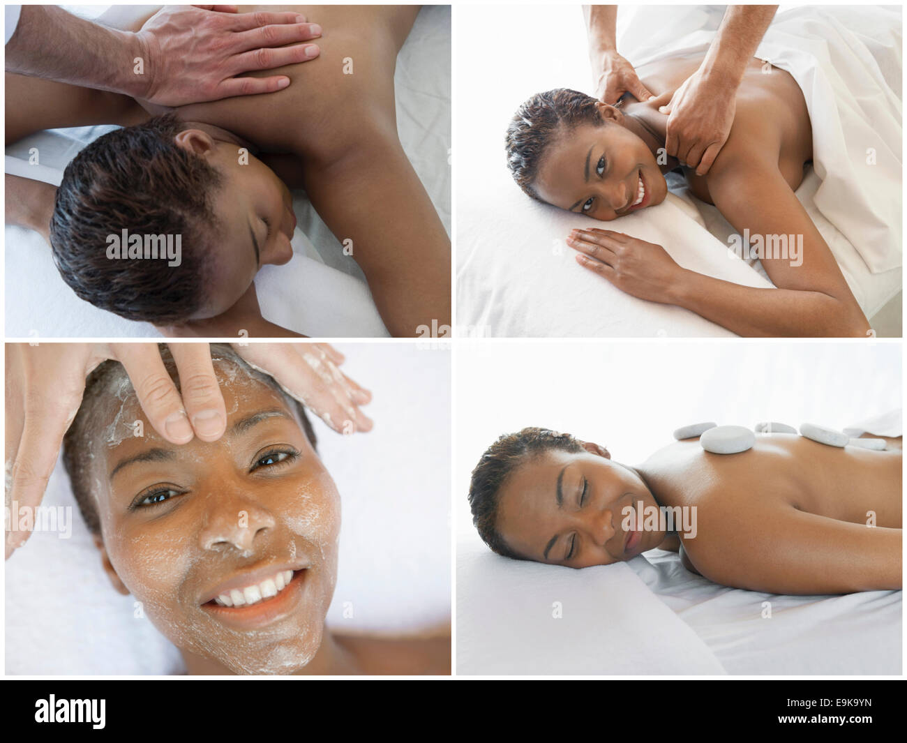 Collage of woman receiving spa treatment - Stock Image