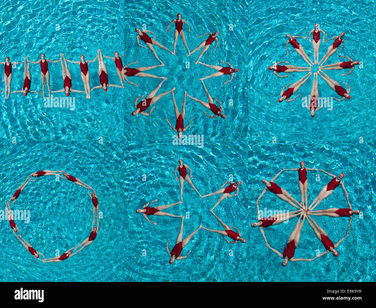 Collage of female synchronized swimmers forming various shape in swimming pool - Stock Image