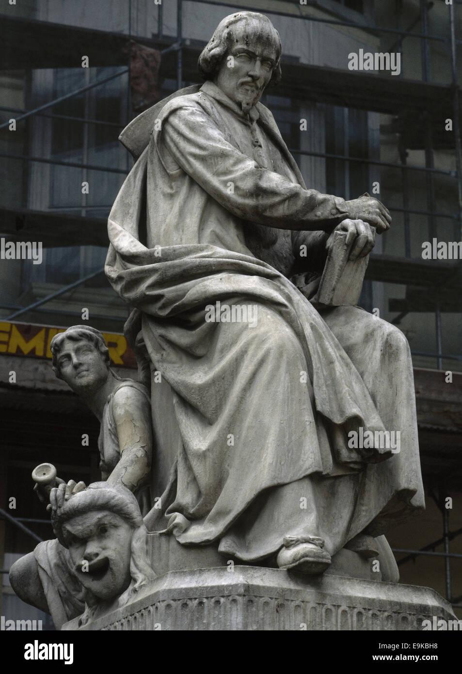 Calderon de la Barca (1600-1681). Spanish writer. Golden Age. Statue by Juan Figueras Vila (1829-1881) in 1876. - Stock Image