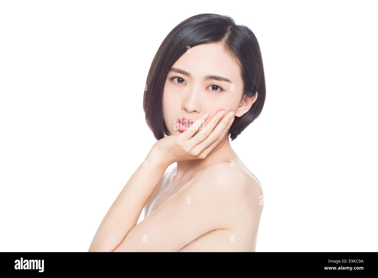 chinese woman facial expressions, white background - Stock Image