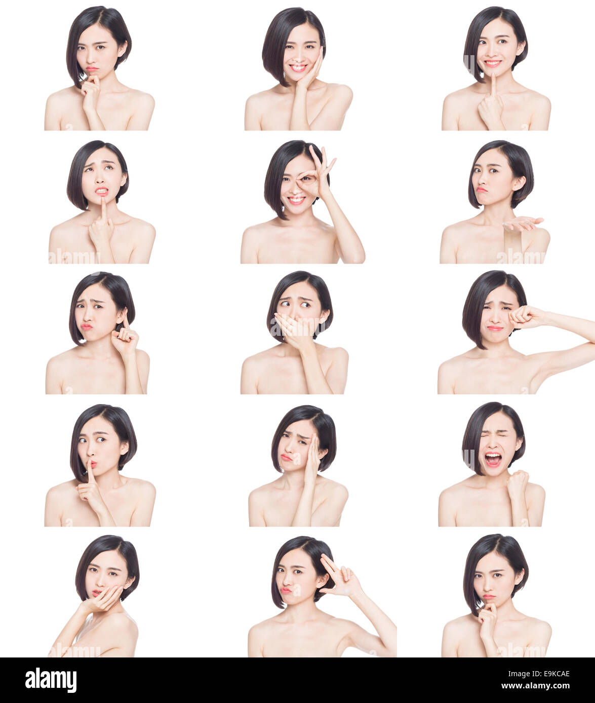 collage of chinese woman different facial expressions - Stock Image