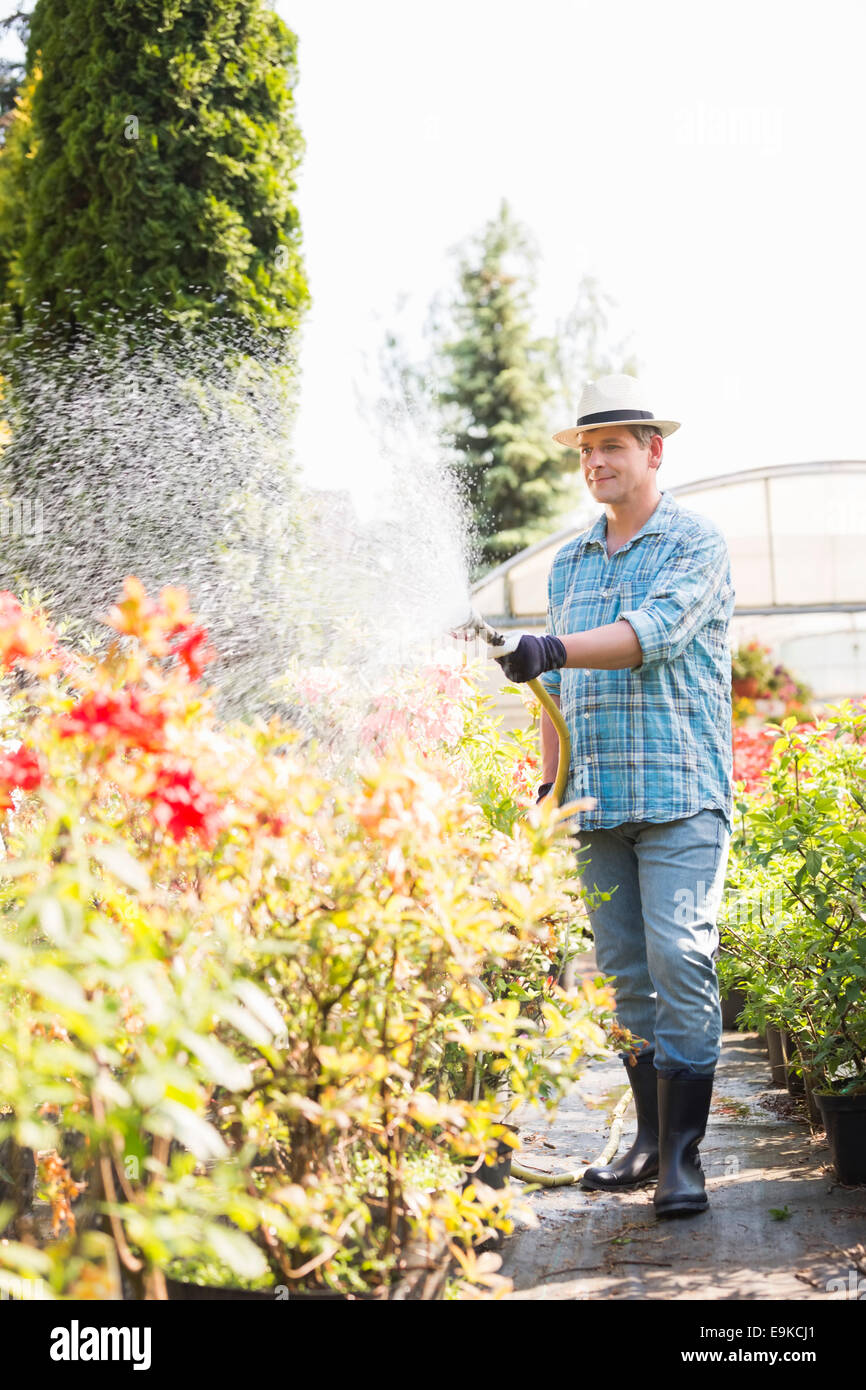 Full-length of man watering plants outside greenhouse - Stock Image