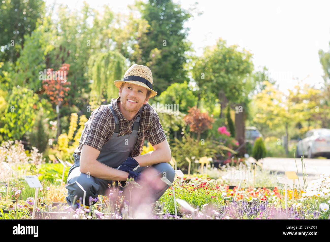 Man looking away while gardening at plant nursery - Stock Image