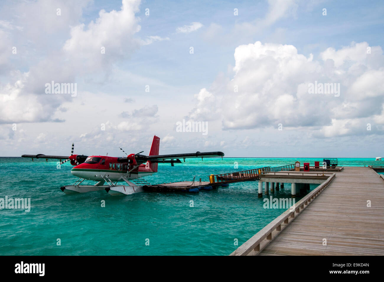 Sea plane docked at the arrival pier, Maldives. - Stock Image