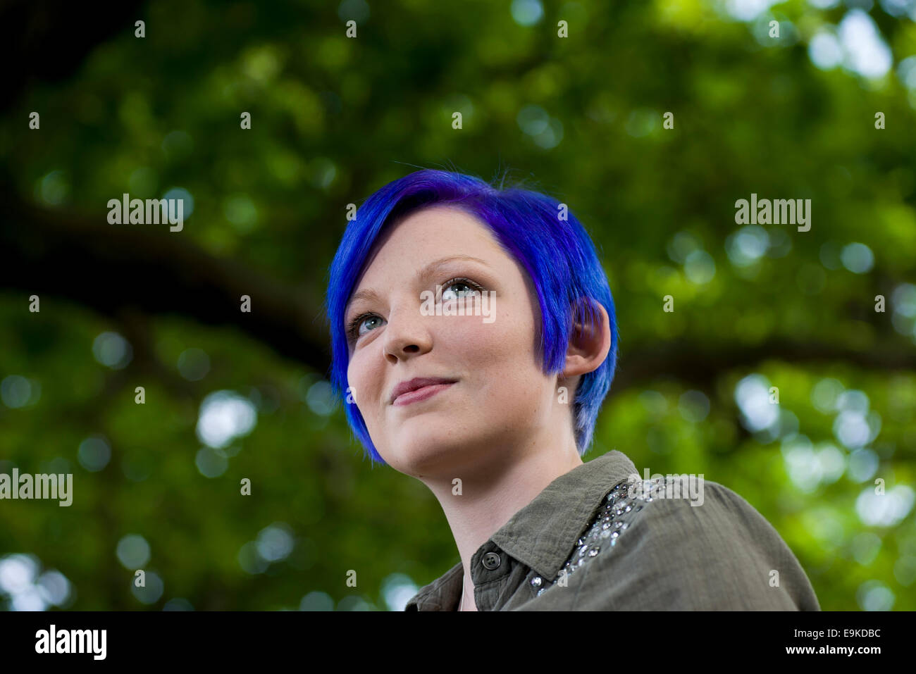 Author Lucy Saxon appears at the Edinburgh International Book Festival. - Stock Image