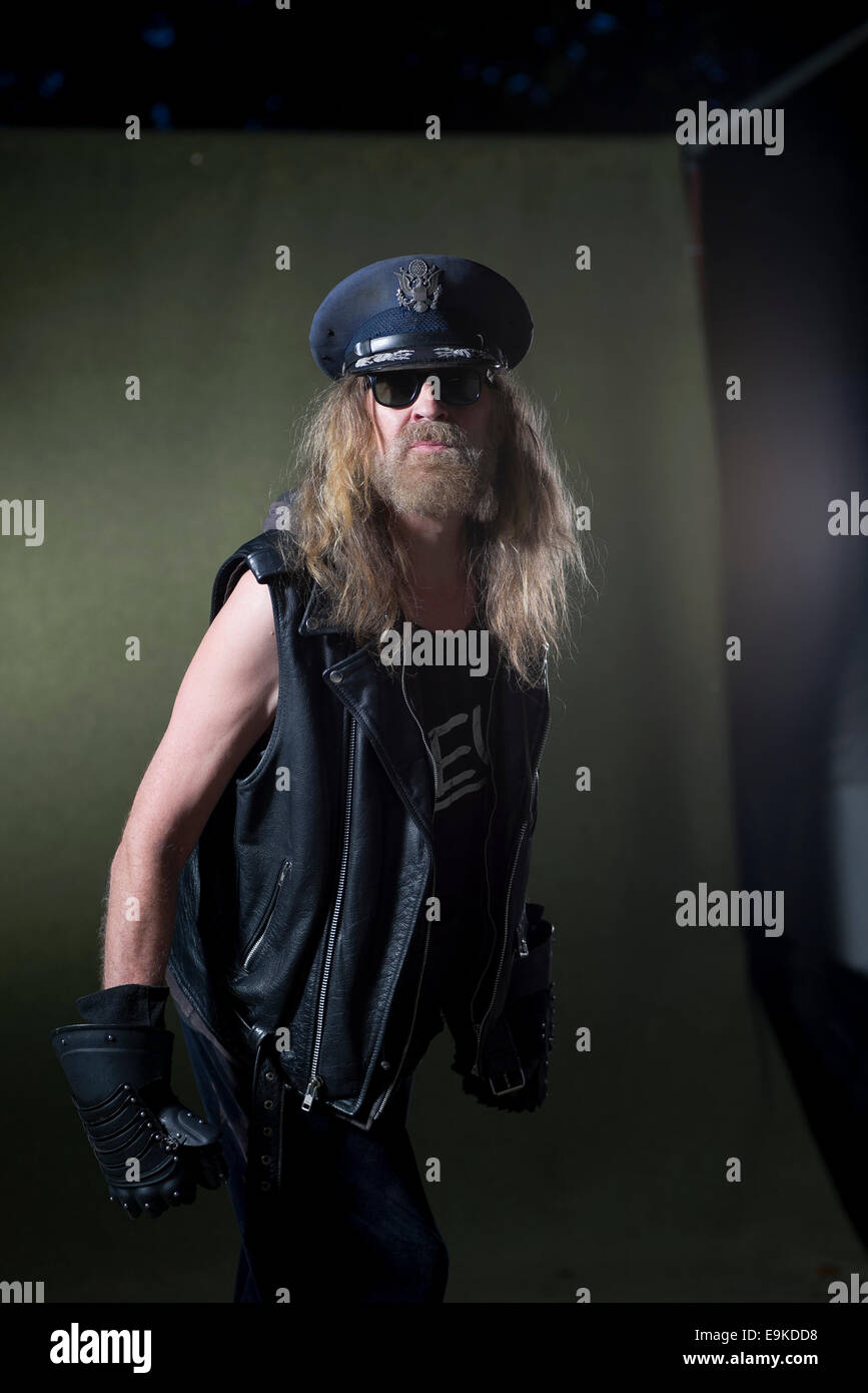 English rock musician, author, antiquary, musicologist, poet and cultural commentator, Julian Cope. - Stock Image