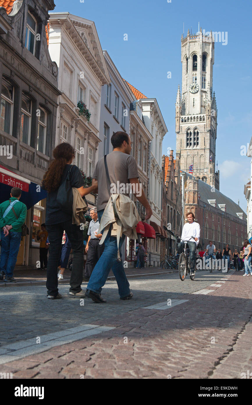 BUSY STREET IN BRUGES - Stock Image