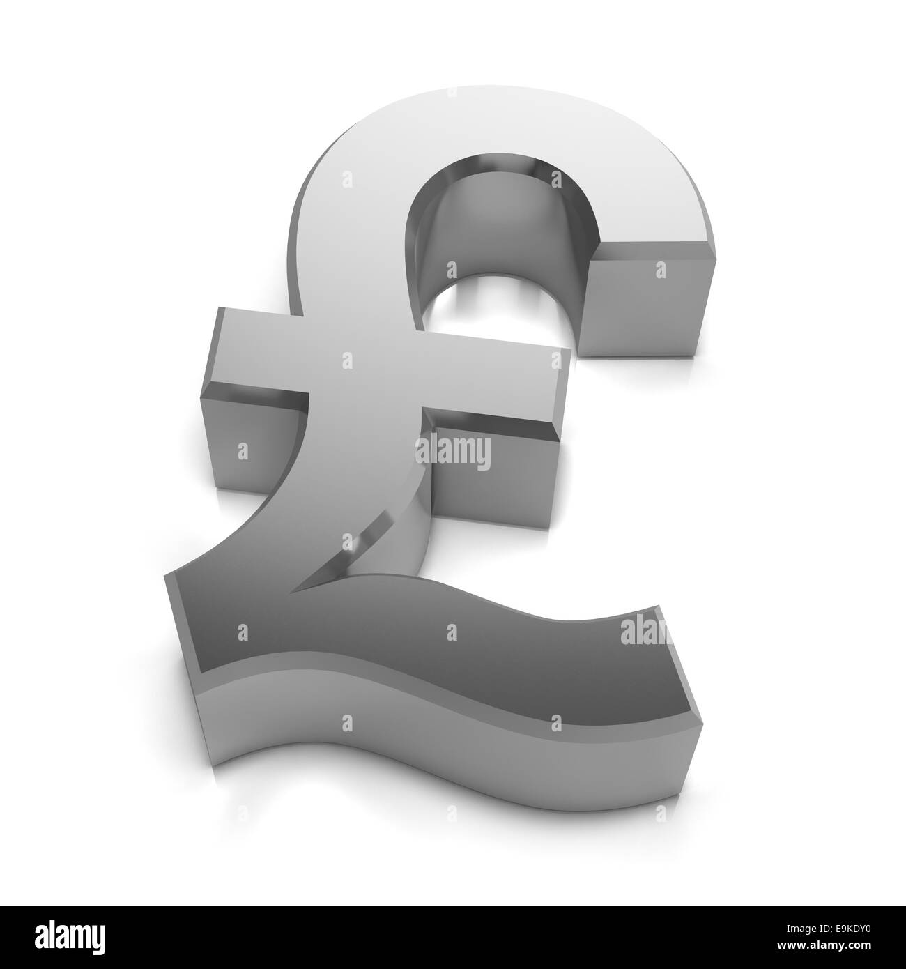 3d Render Of A Silver Uk Pounds Sterling Currency Symbol Stock Photo