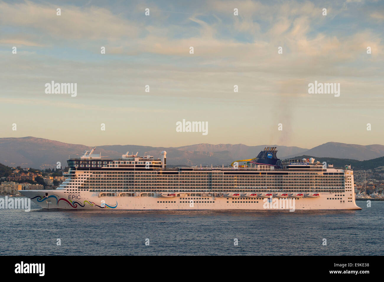 Cruise ship the Norwegian Epic operated by NCL Cruises seen at sea in Cannes, France. - Stock Image