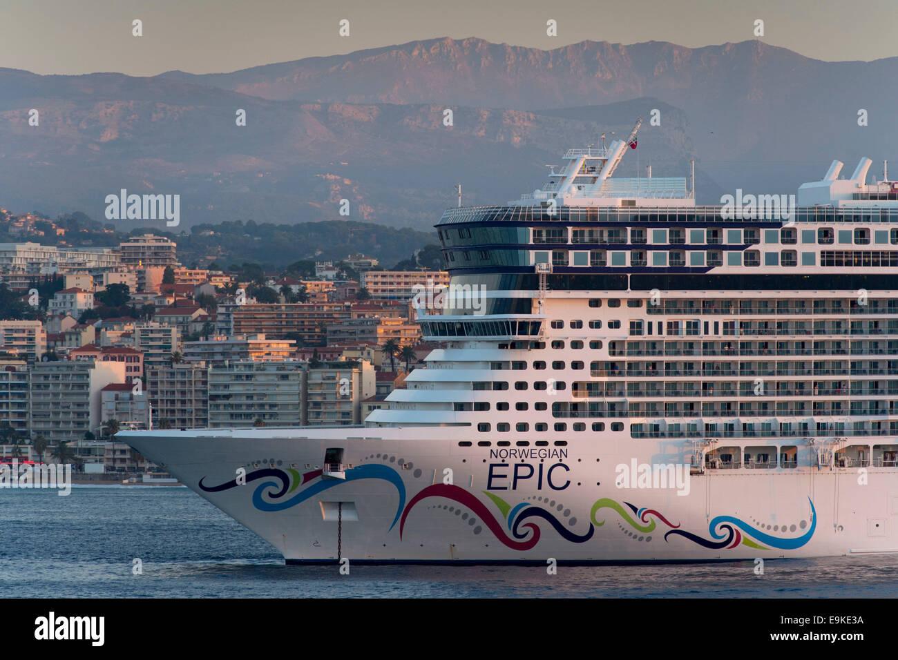 Norwegian Epic cruise ship at sunset. - Stock Image