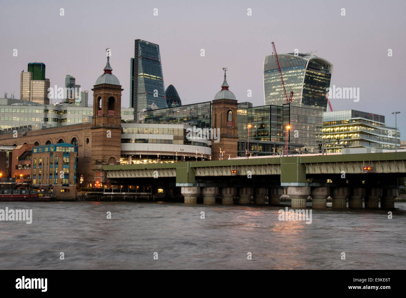 Cannon Street station and the River Thames and the city of London - Stock Image