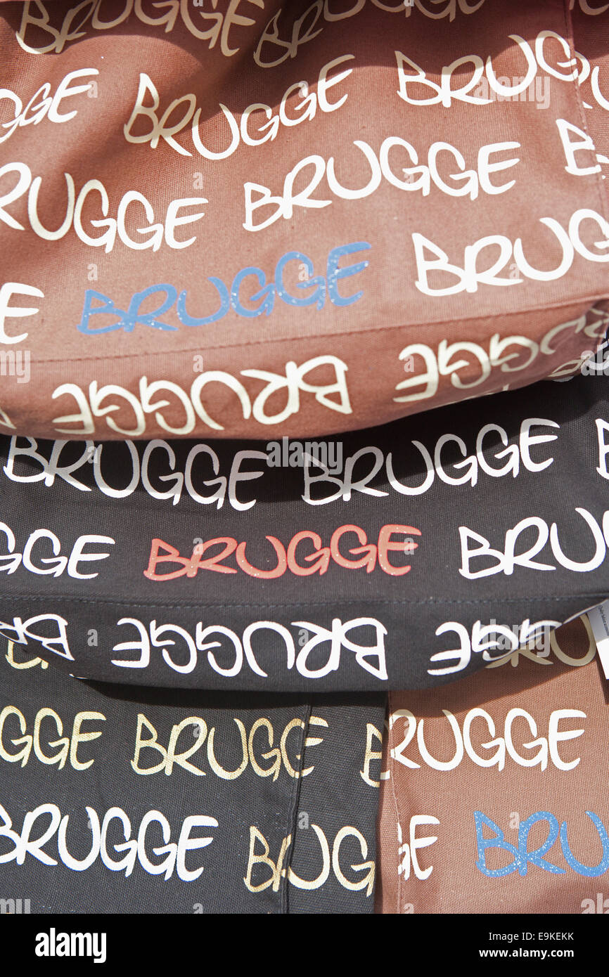 BAGS FOR SALE ON STALL IN BRUGGE - Stock Image