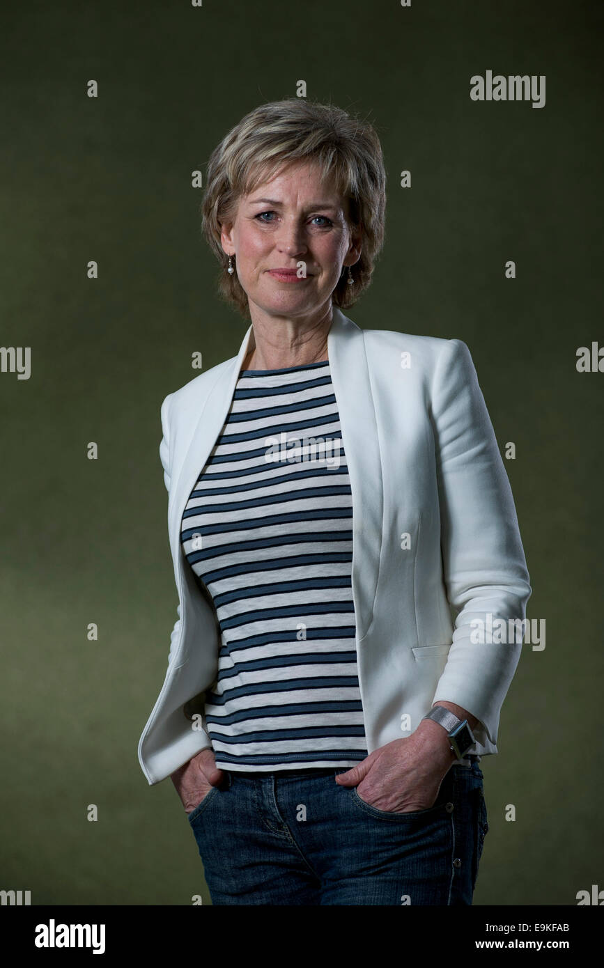 Scottish broadcaster and writer Sally Magnuson appears at the Edinburgh International Book Festival. - Stock Image